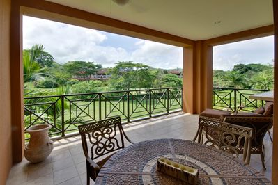 Terrace overlooking the golf course.