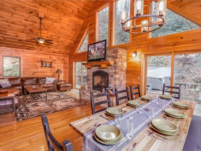Photo for 3BR/3.5BA Cozy Log Cabin on Beech Mountain, Pool Table, Hot Tub, Close to Ski Resort, Pets Allowed!