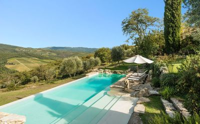Photo for Private Villa with hot tub, WIFI, private pool, TV, patio, panoramic view, close to Greve In Chianti