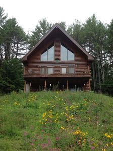 Photo for Family-friendly log cabin with sandy beach, kayaks, near Lake George