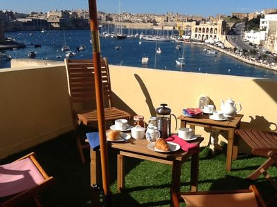 Photo for Stylish Waterfront Kalkara Townhouse, with Grand Harbour View