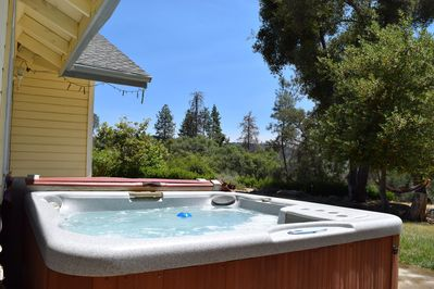 6 person hot tub with distant views along with amazing stars at night.