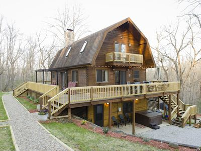 Photo for Secluded retreat great for families w/trails, tree house, frog pond, game room