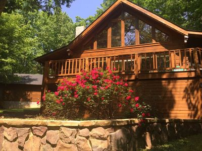 Photo for PRIVACY & SERENITY! Romantic KERR LAKE Waterfront Log Home, Private Dock