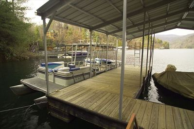 Spacious dock can accommodate up to three boats