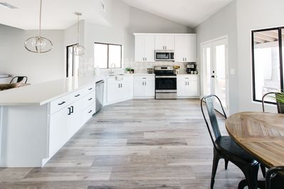 Spacious, bright kitchen with everything you'll need during your stay!