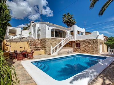 Photo for Spacious  villa only 2km to the sandy beach in Javea,Air Con, Wifi, heated pool
