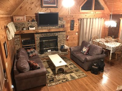 Photo for Log Cabin In Peaceful Setting - Close to Small Lake and Area Attractions