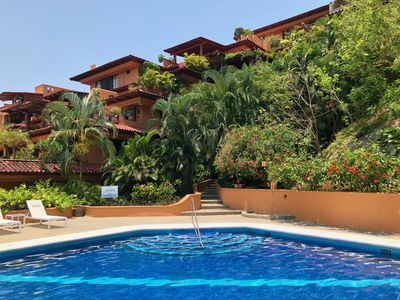 Cool off in our pool here at Punta Marina. Our 2 terraces are on the top right.