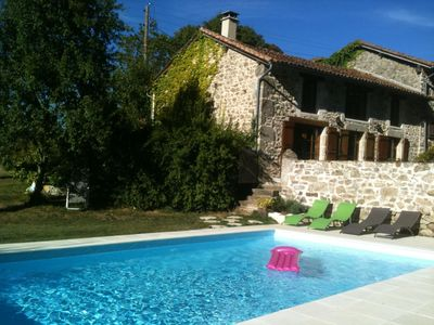 Photo for Gite of charm,on a unique 400000 sq.m place,with heated pool,private golf,ponds