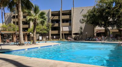Resort style heated pool, gas grills, plenty of seating, lots of sun and shade