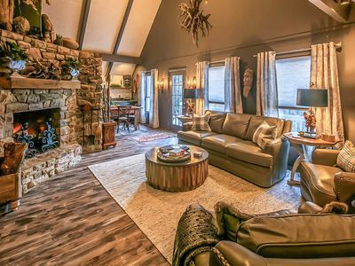 Photo for 3BR/3BA Beautifully Renovated Mountain Home in Hound Ears! Hot Tub, Bumper Pool, Poker Table, Rushing Creek and Boulders Throughout Property!