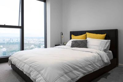 Enjoy a night's rest in this queen size bed that is lined with hotel quality lin