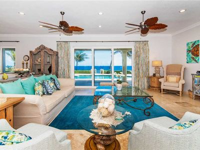 Photo for On The Rocks: Gated Beach Villa with Pool and Protected White Sandy Beach Nearby.