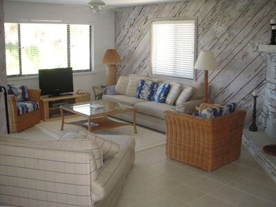 Great Room with flat screen TV and views of the Beach