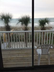 The view from the living room to walk out deck, looking over the Atlantic