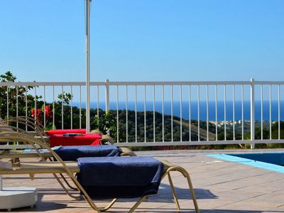 Photo for Peaceful villa with amazing sea views and Pool, 10min walk to Kournas