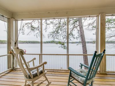 Photo for Family-friendly lakefront house with 3 kitchens, private dock - dogs welcome