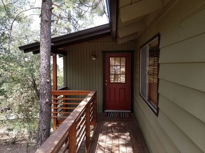 Photo for SECLUDED IDYLLWILD CABIN w/private decks & tree top mountain sunset views