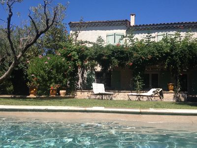 Photo for Beautiful holiday studio in a Mas with romantic patio with pool and pool.