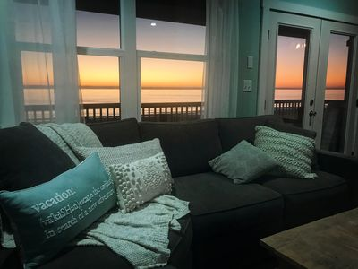 Unobstructed Gulf sunset from the living room.