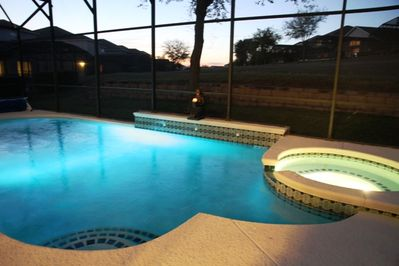 Pool with changing color LED light