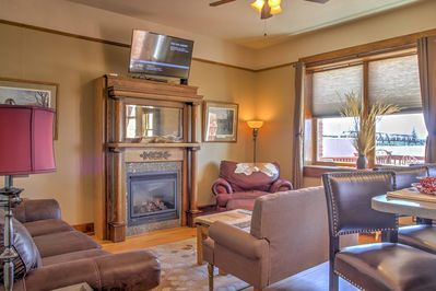 Kick back and relax in the comfy living area with cable TV.