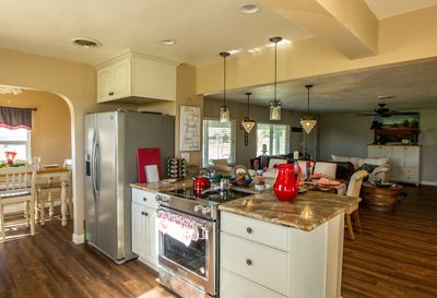 Fully equipped kitchen with new stainless appliances.