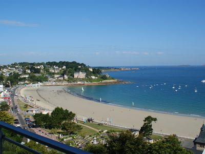 Photo for Sea view apartment overlooking the main beach of Perros-Guirec
