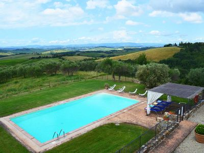 Photo for Private Villa with private pool, WIFI, TV, patio, washing machine, panoramic view, close to Siena