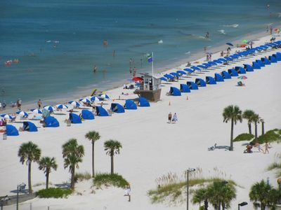 Above view of the white sands of Clearwater Beach.