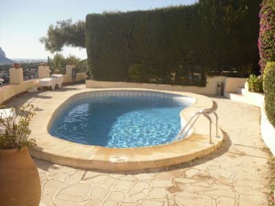 shared pool with fantastic sea views