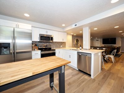 All new kitchen with quartz tops, new appliances,  and new cabinets.
