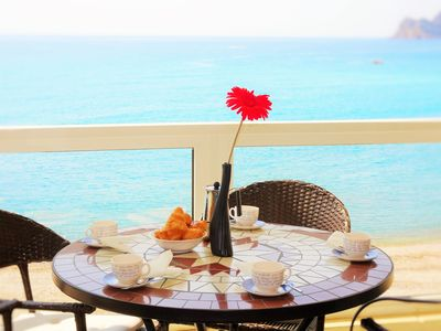Photo for Luxury 3 bedroom beach front apartment, amazing sea view, AIRCO, no car needed