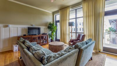 Comfy living area with balcony access
