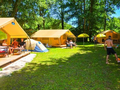 Photo for Camping La Draille - Lodge St Emilion Deluxe 3 room apartment 5 people (without toilet blocks)