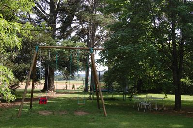 The swings and the trampoline