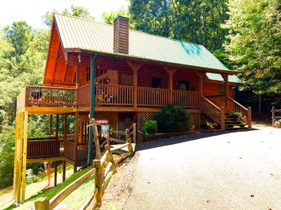 Photo for Bear's Den Lodge} Very Private - Great Views! - Awesome Bunk Room & Hot Tub   -