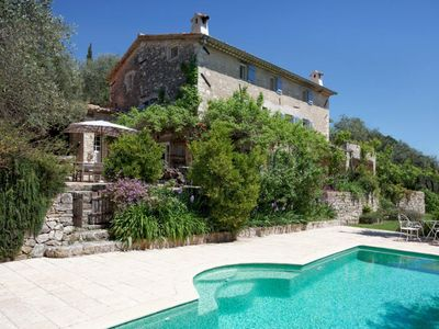 Photo for 17th Century stone Mas with infinity pool set in mature olive grove