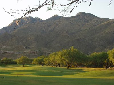 Views of the driving range and Catalina Mountains from the patio.