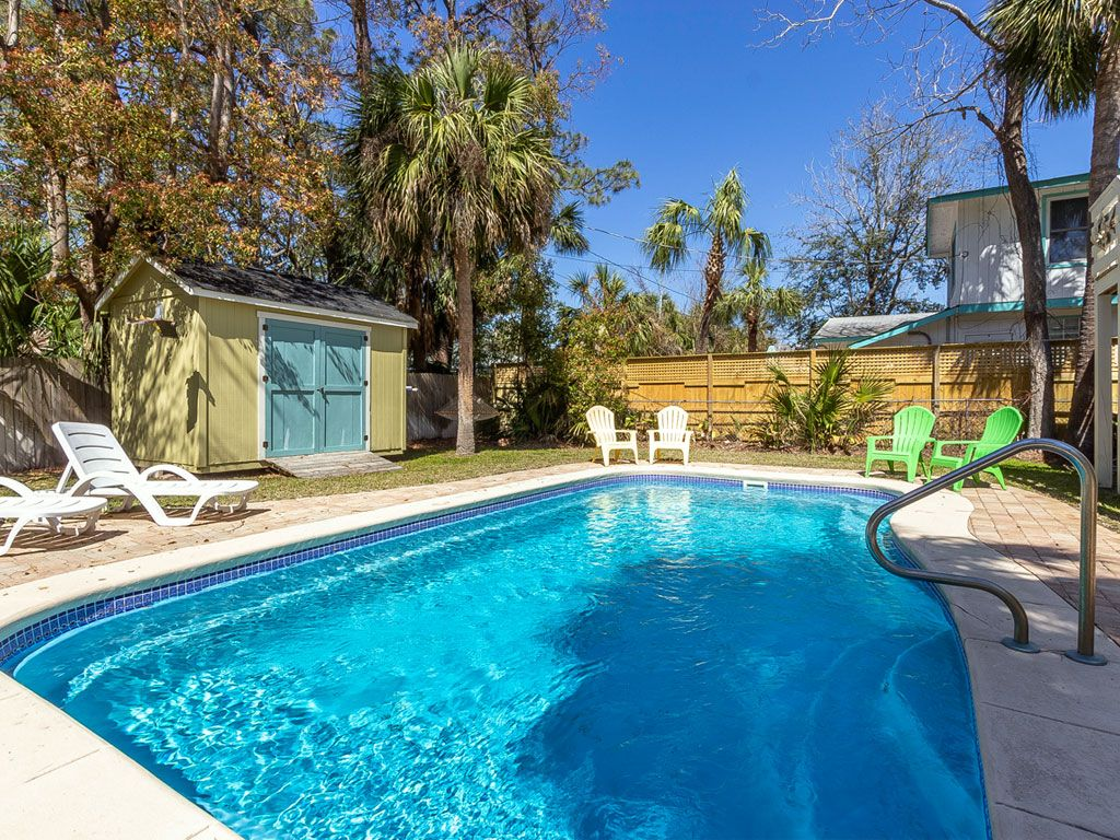 Large Tybee Cottage With Large Private Swimming Pool Fenced In Yard Pet Friendly Vrbo