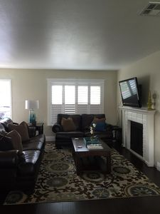 Family Room.  Leather sofa and loveseat with lift top coffee table.