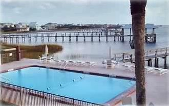 Private, gated pool and dock at Point Matanzas on the intracoastal waterway