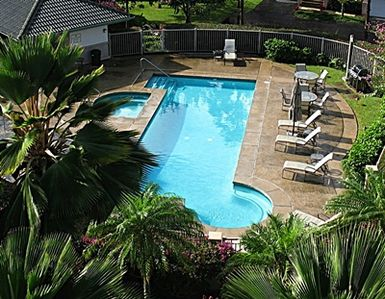 swimming pool, spa, and barbeque area