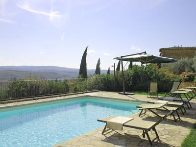 Villa con WIFI, A/C, piscina privata, TV, patio, vista panoramica, vicino Greve In Chianti