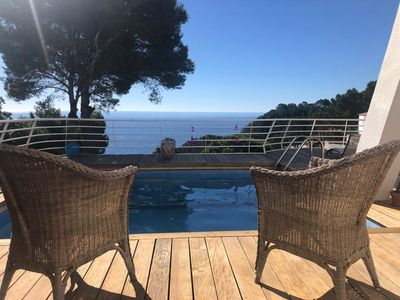 Photo for 8302 Begur, Semi-detached house with sea views and private pool pool