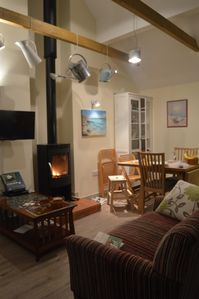 Cosy log-burner in the main room