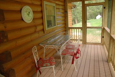 Our lovely screened in porch right outside the kitchen!