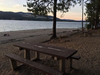 This beach is accessible by boat OR has land access by my VRBO renters.