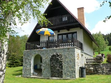 Holiday house at the forest with fireplace and billiards